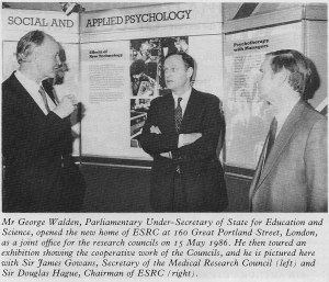 George Walden, Parliamentary Under-Secretary of State for Education and ScieGeorge Walden, Parliamentary Under-Secretary of State for Education and Science, opening the new home of the ESRC, 1986