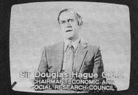 Sir Douglas Hague, Chair 1983-87, television appearance