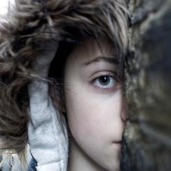 Girl with fur hood