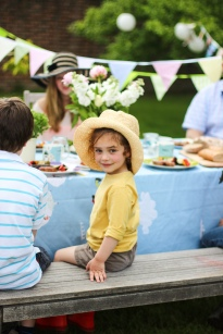 Child sat at table