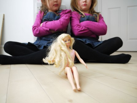 Two girls with one doll