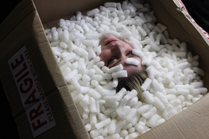 Head in box