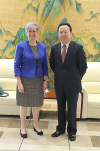 Professor Jane Elliott meets with Professor Tan Tieniu, Deputy Director General of CAS, and Director General of the Bureau of International Cooperation