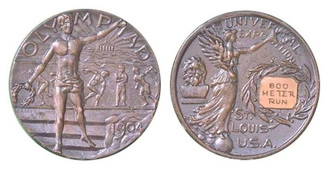 The silver medal awarded for the 800m run during the 1904 Summer Olympics