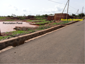 Road side drainage connected to percolation pond for groundwater recharge in Tigray